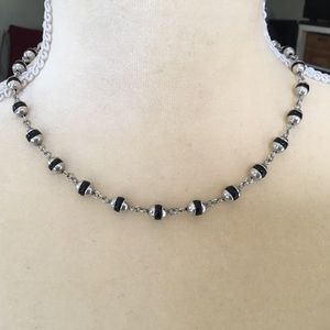 Native American sterling & Hematite bead necklace
